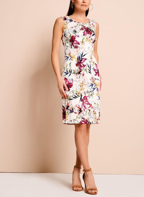 Floral Print Jacquard Sheath Dress, Multi, hi-res