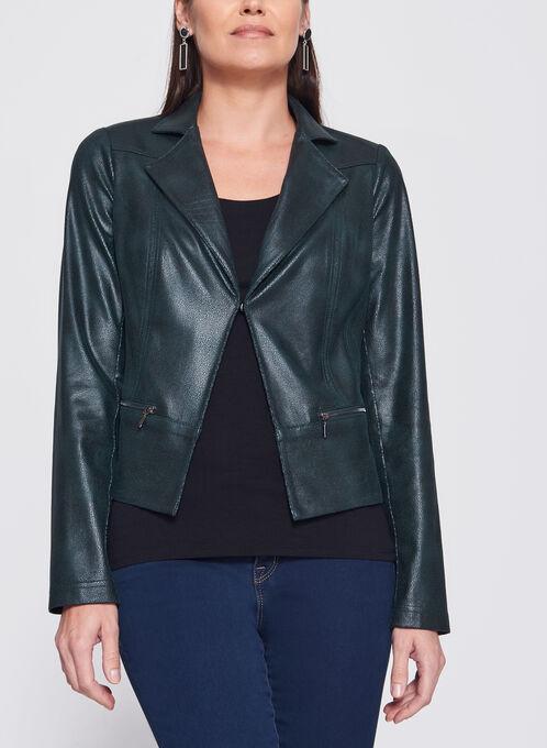 Vex - Zipper Trim Faux Suede Jacket, Green, hi-res