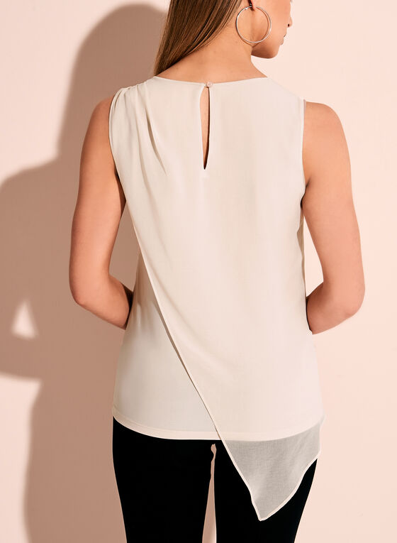 Sleeveless Asymmetric Blouse, Grey, hi-res