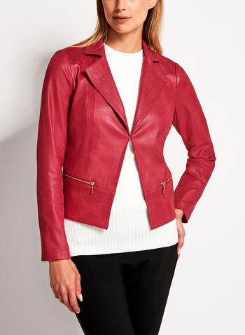 Vex - Metallic Trim Faux Leather Jacket, , hi-res