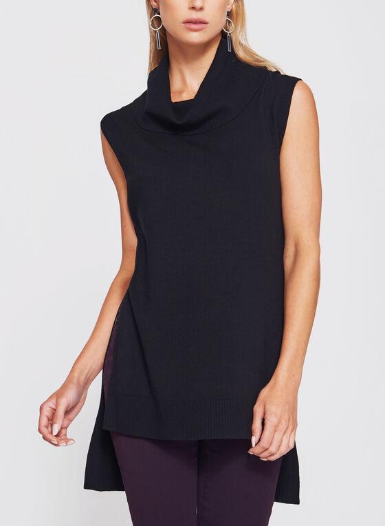 Sleeveless Cowl Neck Knit Tunic, Black, hi-res