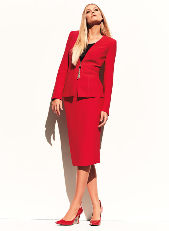 Tassel Trim Zip Front Jacket , Red, hi-res