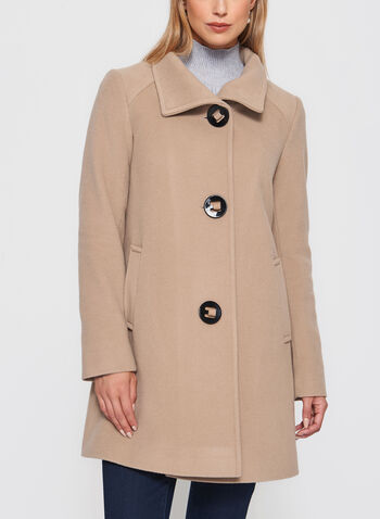 Mallia - Manteau en laine vierge à gros boutons, , hi-res