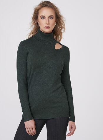 Elena Wang - Pull tricot ajouré avec col roulé, , hi-res