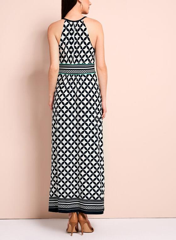 Geometric Halter Neck Maxi Dress, Blue, hi-res