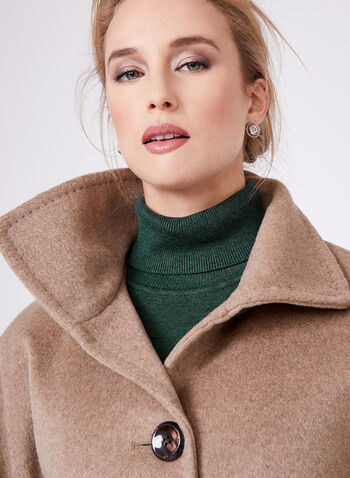 Ellen Tracy - Wool & Angora Blend Coat, Brown, hi-res