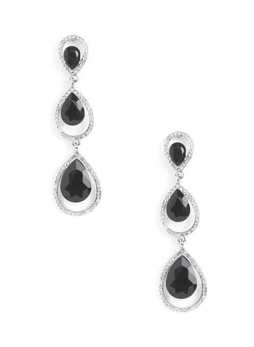 Tiered Teardrop Earrings, Black, hi-res