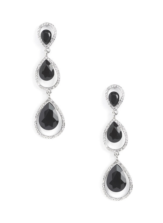 Tiered Teardrop Earrings, Black, hi-res