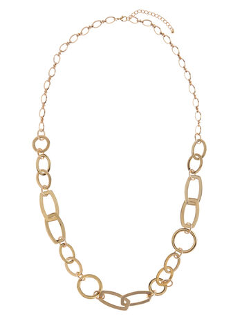 Elongated Chain Link Necklace , , hi-res