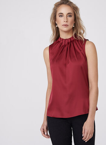 Pleated Neck Satin Sleeveless Blouse, , hi-res