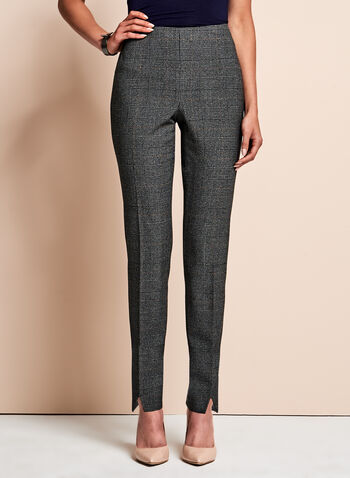 Glen Check Print Slim Leg Pants, , hi-res