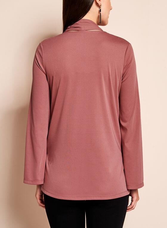 Tie Neck Bell Sleeve Top, Pink, hi-res