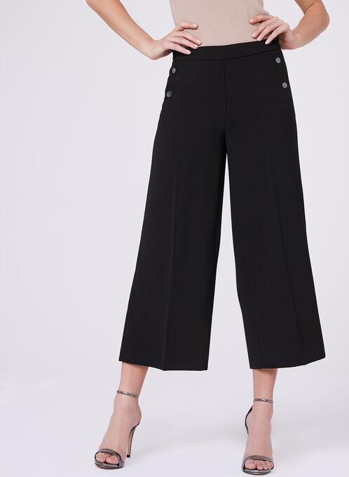 Wide Leg Culotte Pants , Black, hi-res