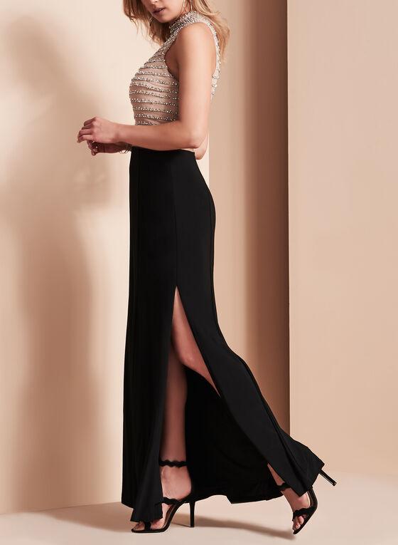 Sheer Waist Sequined Jersey Gown, Black, hi-res