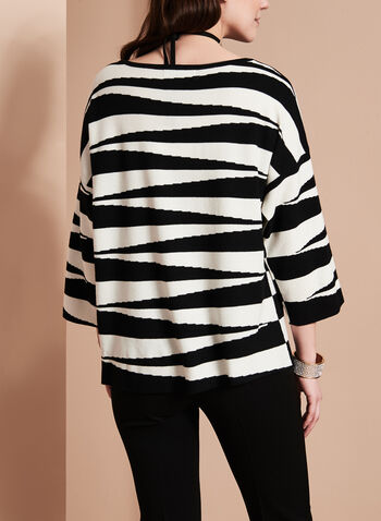 3/4 Sleeve Graphic Knit Top, , hi-res