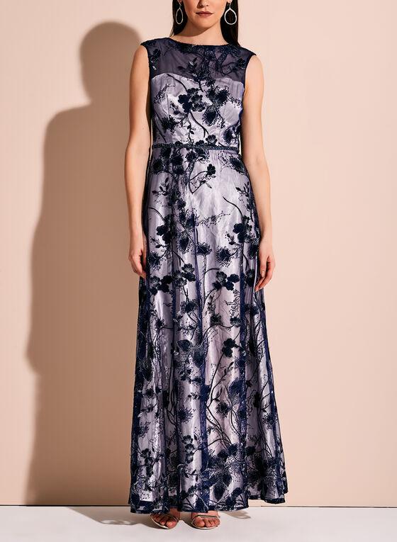 Floral Embroidered Embellished Mesh Dress, Blue, hi-res