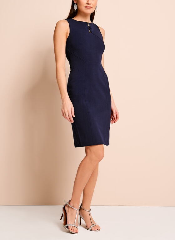 Ivanka Trump Crepe Sheath Dress, Blue, hi-res