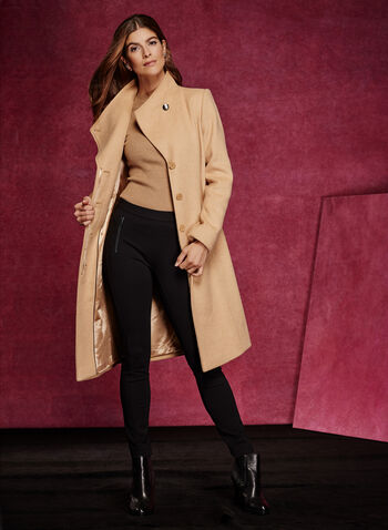 Invisible Button Wool Blend Coat , , hi-res