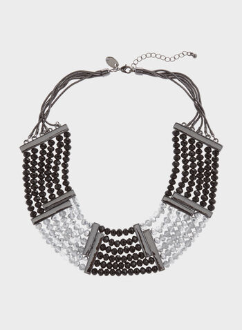 Collier plastron de perles facettées bicolores, , hi-res