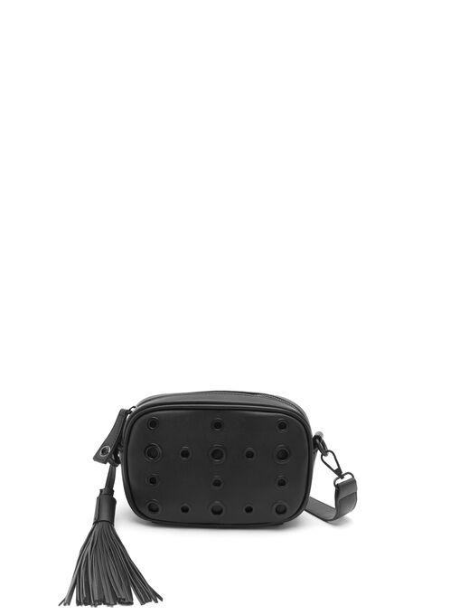 Eyelet Embellished Crossbody Handbag, Black, hi-res