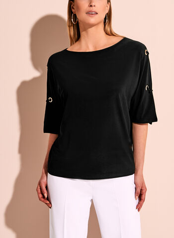 Cold Shoulder Grommet Knit Top, , hi-res