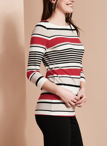 3/4 Sleeve Stripe Print Top, , hi-res