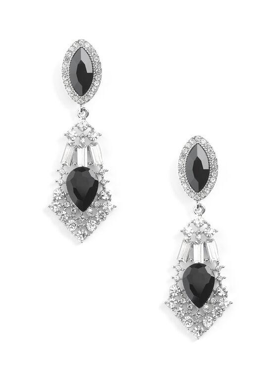 Crystal Chandelier Earrings, Black, hi-res