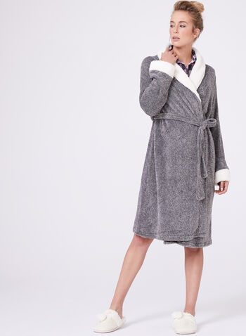 Contrast Trim Dressing Gown , , hi-res