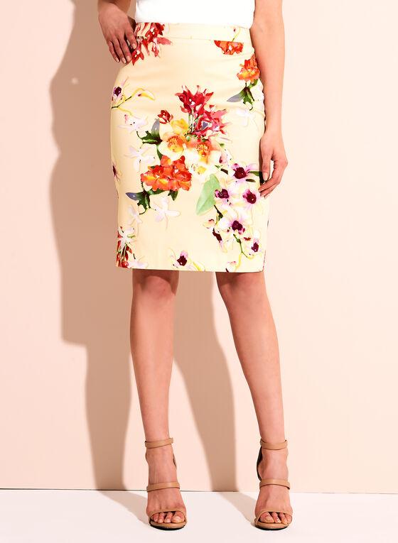 Floral Print Sateen Pencil Skirt, Red, hi-res