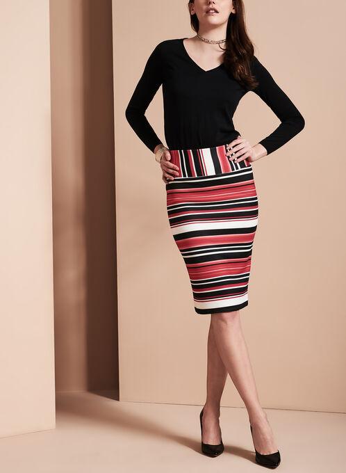 Stripe Print Pencil Skirt, Red, hi-res