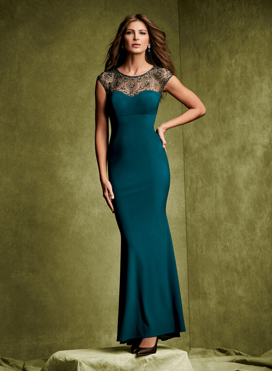 Beaded Jersey Mesh Gown, Green, hi-res