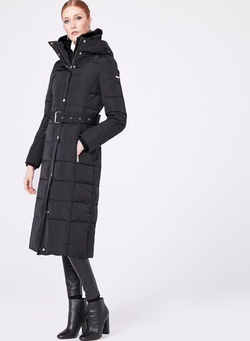 Novelti - Faux Fur Collar Quilted Down Coat, , hi-res
