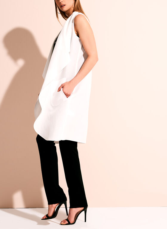 Linen Blend Cascade Vest, Off White, hi-res