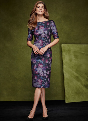 Floral Print Sheath Dress, , hi-res