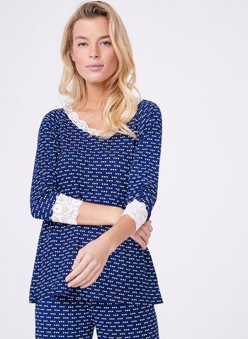 Dot Print Lace Trim Pajama Set, , hi-res