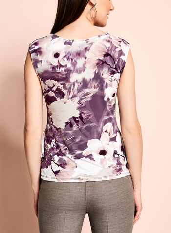 Floral Print Side Drape Top, , hi-res