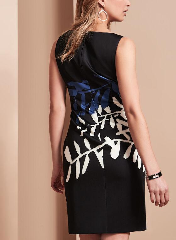 Ivanka Trump Printed Scuba Dress, Black, hi-res
