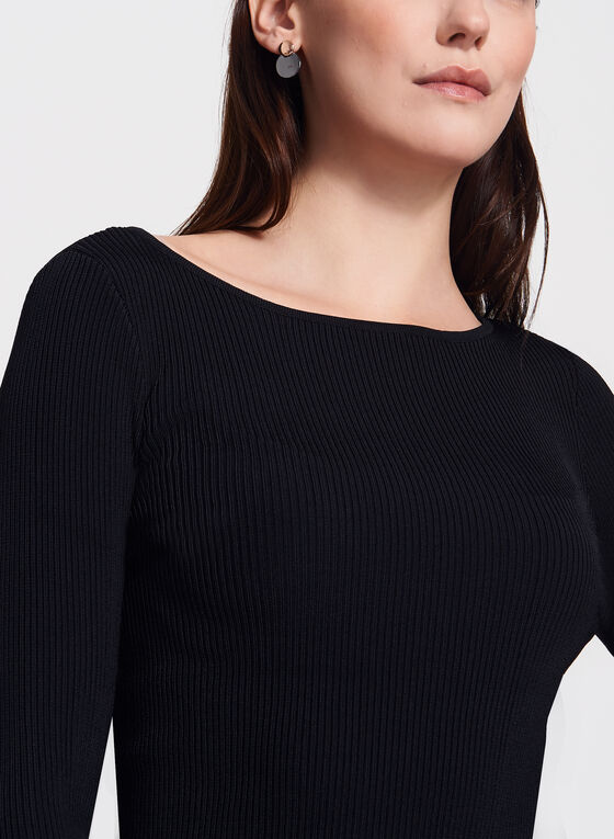 Chiffon Bell Sleeve Knit Sweater, Black, hi-res