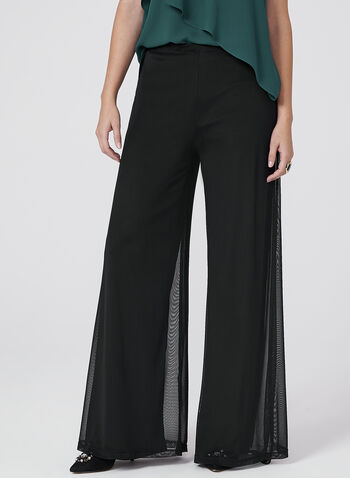 Pull-On Wide Leg Mesh Pants, , hi-res
