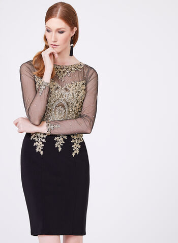XSCAPE - Beaded Lace Mesh Sheath Dress, , hi-res
