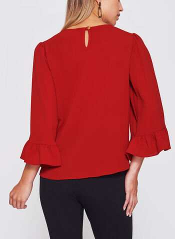 Bubble Crepe Bell Sleeve Top , , hi-res