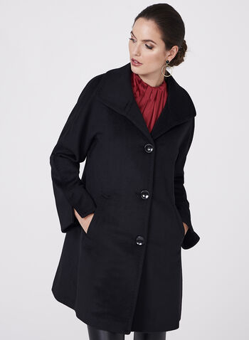 Ellen Tracy - Wool & Angora Blend Coat, Black, hi-res