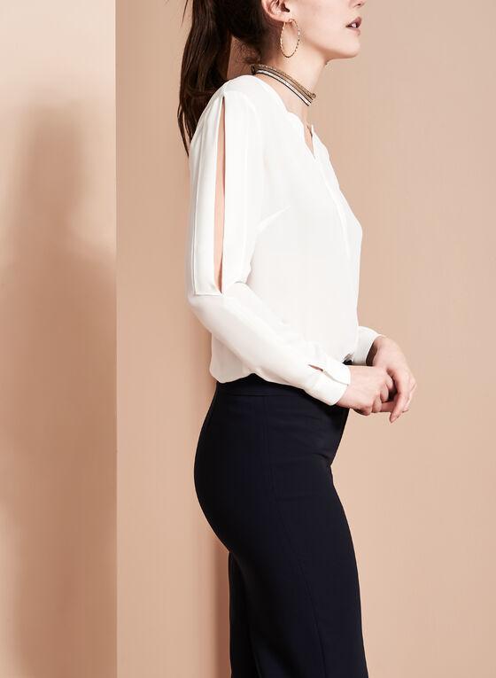 Long Sleeve Cold Shoulder Blouse, Off White, hi-res