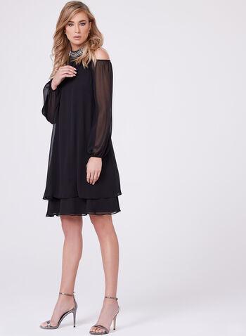 BA Nites - Beaded Cleo Neck Cold Shoulder Dress, , hi-res
