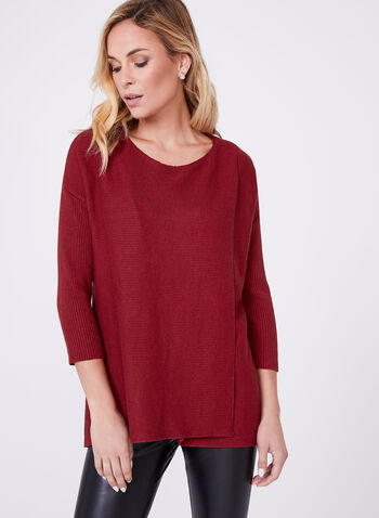 3/4 Sleeve Ribbed Sweater, , hi-res