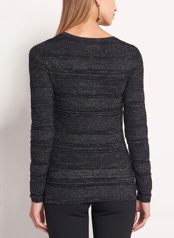 Metallic Stripe Knit Sweater, , hi-res