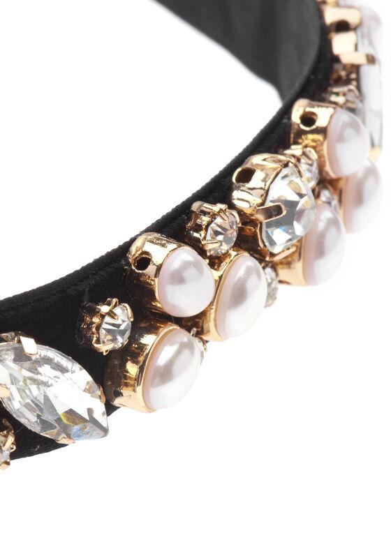 Stone & Pearl Velvet Choker Necklace, Off White, hi-res