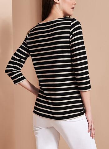 3/4 Sleeve Stripe Print Top , , hi-res