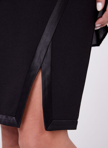Satin Trim Pencil Skirt, , hi-res