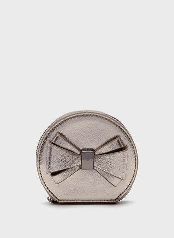 Metallic Bow Detail Coin Purse, , hi-res